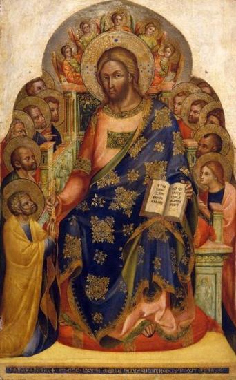 Icône de Jésus avec les apôtres et les anges