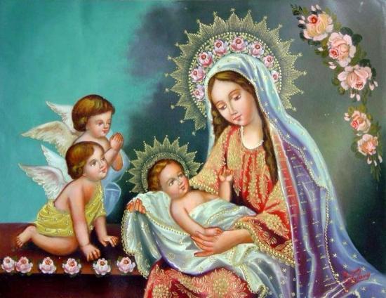 Image pieuse Marie, Enfant-Jésus et anges