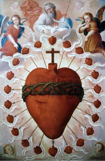 Image pieuse Sacré Coeur de Jésus avec couronne d'épines