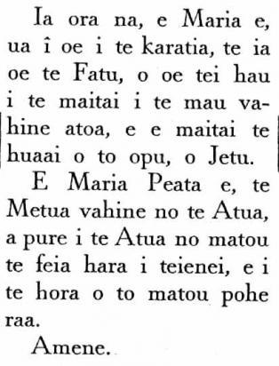 Je Vous salue Marie en Tahitien