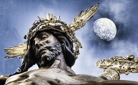 Christ, Croix, Couronne et lune