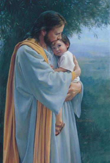 Jésus serrant un enfant contre Son Coeur