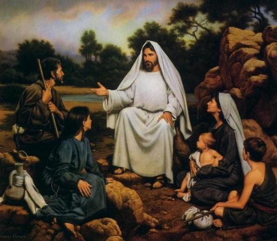 Jésus prêchant