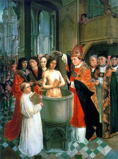 Baptême de Clovis après sa conversion en 496 grâce à son épouse Sainte-Clotilde