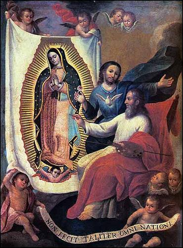 Le père Éternel peignant l'image de Notre-Dame de Guadalupe