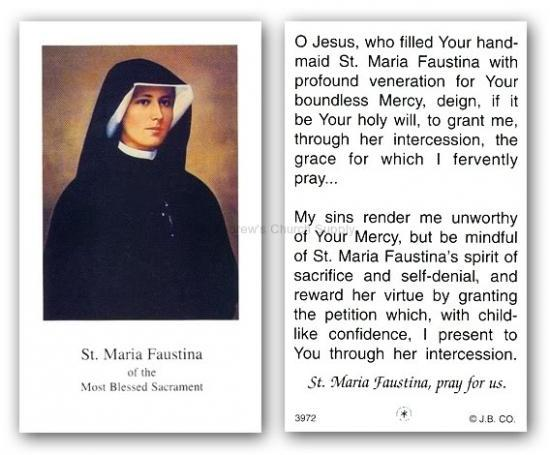 Prayer card to St Faustina