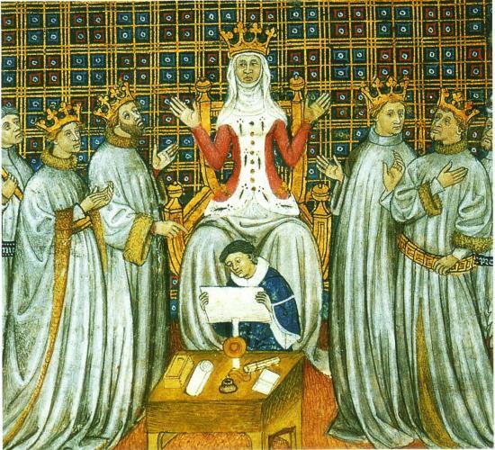 Sainte-Clotilde, reine des Francs, et ses 4 fils