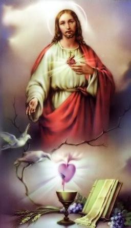 Jésus, Eucharistie, Sacré-Cœur et colombes