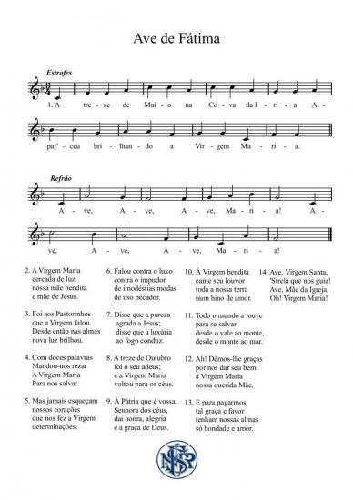 Partitura cântico de Fátima Ave de Fátima