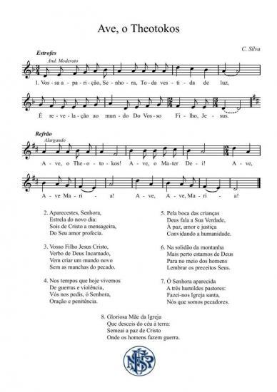 Partitura cântico de Fátima Ave o Theotokos (C. Silva)