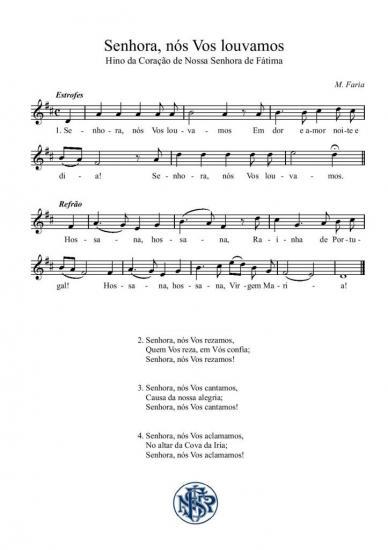 Partitura cântico de Fátima Senhora nos Vos louvamos (M. Faria)