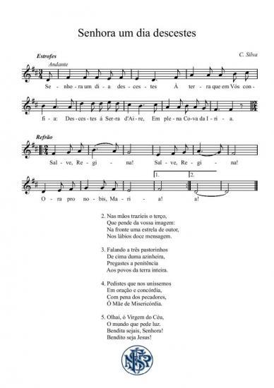 Partitura cântico de Fátima Senhora um dia descestes (C. Silva)