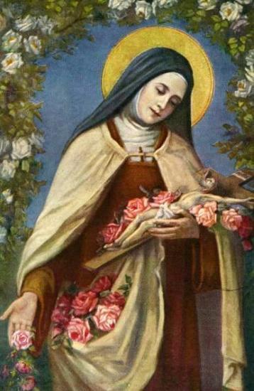 Pluie de roses de Sainte Thérèse en peinture