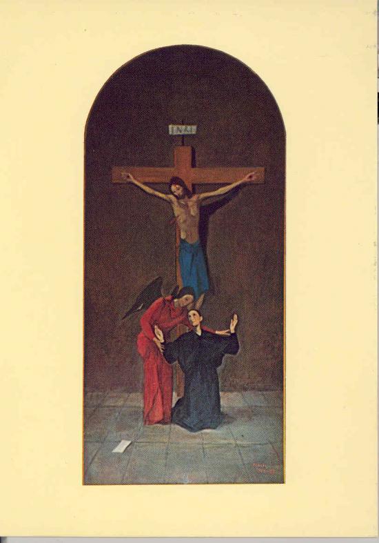 Sainte-Gemma Galgani avec l'Ange et Jésus