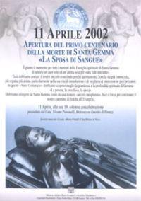 Poster du centenaire de la mort de Sainte-Gemma Galgani