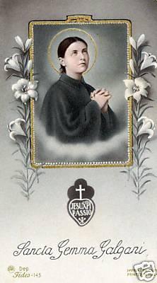Sainte-Gemma Galgani, carte sainte