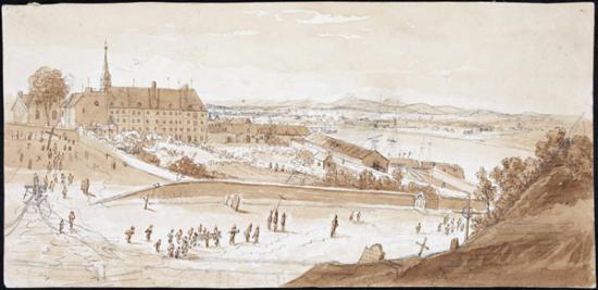 Hôtel-Dieu et cimetière de Québec vers 1822, James Pattison
