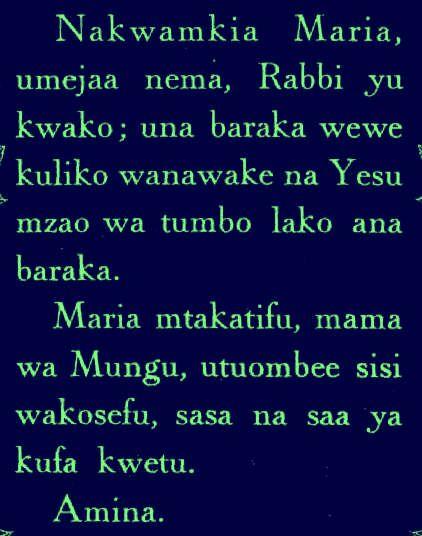 Je vous salue marie en swahili/Kiswahili Ave Maria
