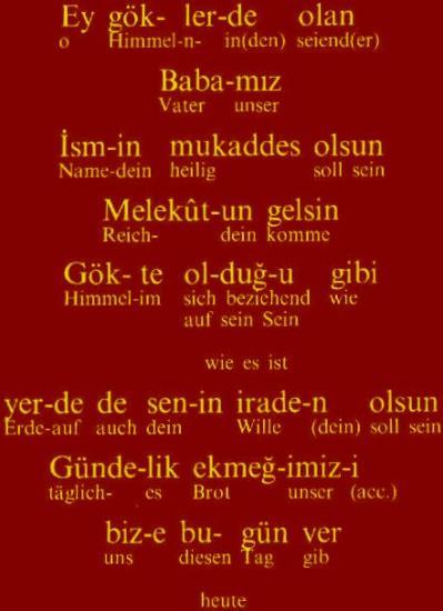 Notre Père en turc 1/Turkish Pater Noster 1