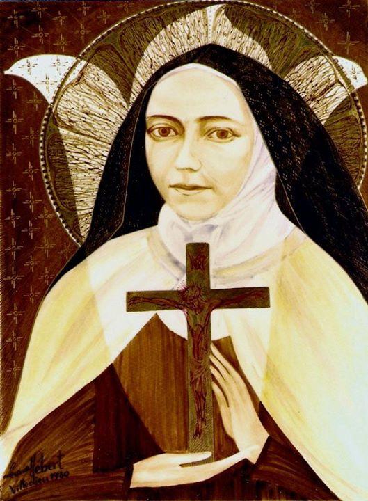 Peinture de Sainte Thérèse par L. Hébert, Villedieu (1989)