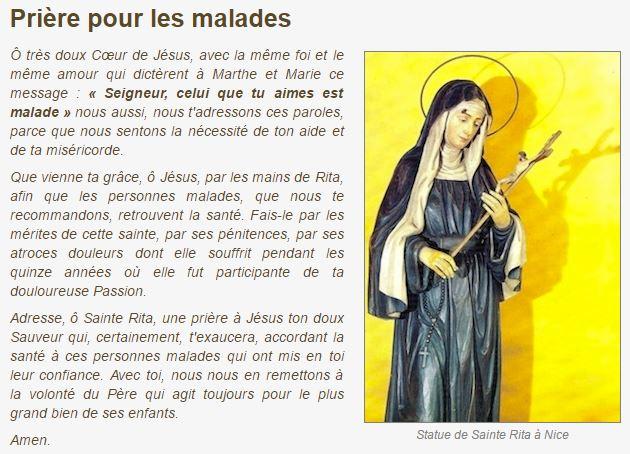Prière à Sainte Rita pour les malades