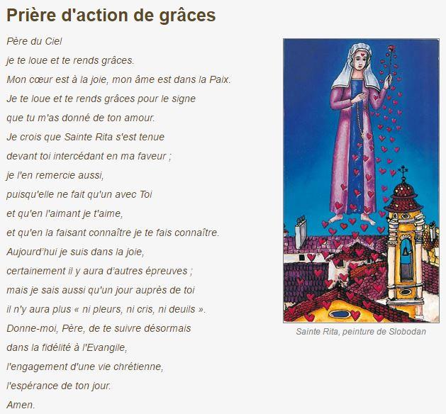 Prière d'action de grâces à Sainte Rita