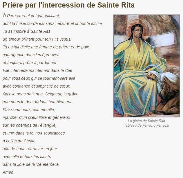 Prière par l'intercession de Sainte Rita