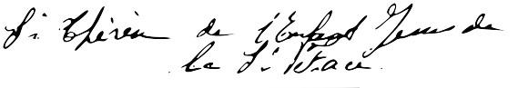 Signature de Sainte Thérèse de Lisieux